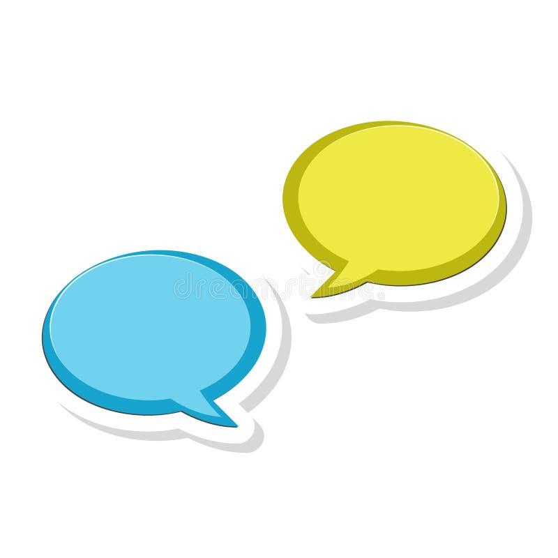 Meddelandet bubblar klistermärken, pratstundsymbolen, dialogsymbol royaltyfri illustrationer