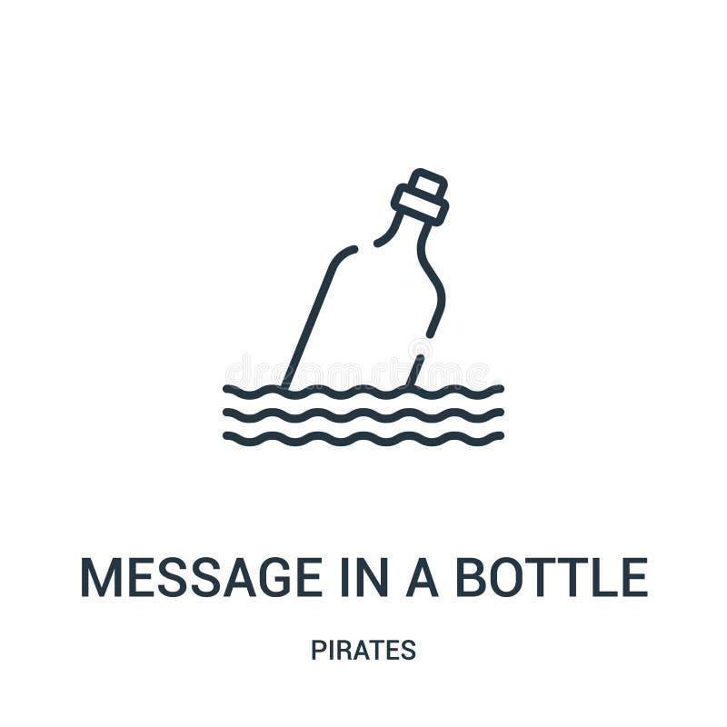 meddelandet i en flasksymbolsvektor från piratkopierar samlingen Tunn linje meddelande i en illustration för vektor för flasköver royaltyfri illustrationer