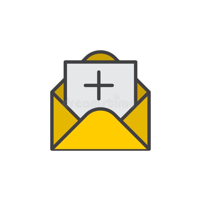 Meddelandet med plus fyllde översiktssymbolen, linjen vektortecknet, linjär färgrik pictogram royaltyfri illustrationer