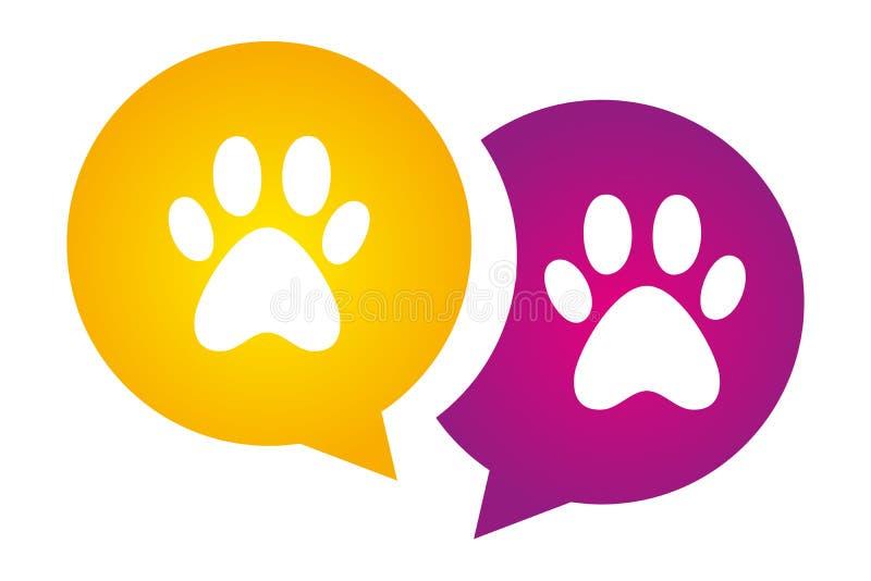 Meddelandetecken med fläckar för djurfot vektor illustrationer
