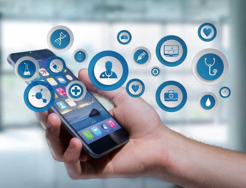Medecine i ogólna opieki zdrowotnej ikona wystawiający na technologii ja fotografia stock