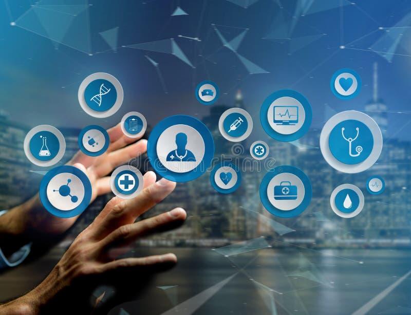 Medecine i ogólna opieki zdrowotnej ikona wystawiający na technologii ja zdjęcie royalty free