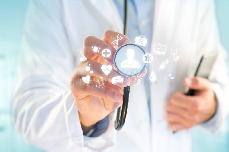 Medecine i ogólna opieki zdrowotnej ikona wystawiający na technologii m obrazy royalty free