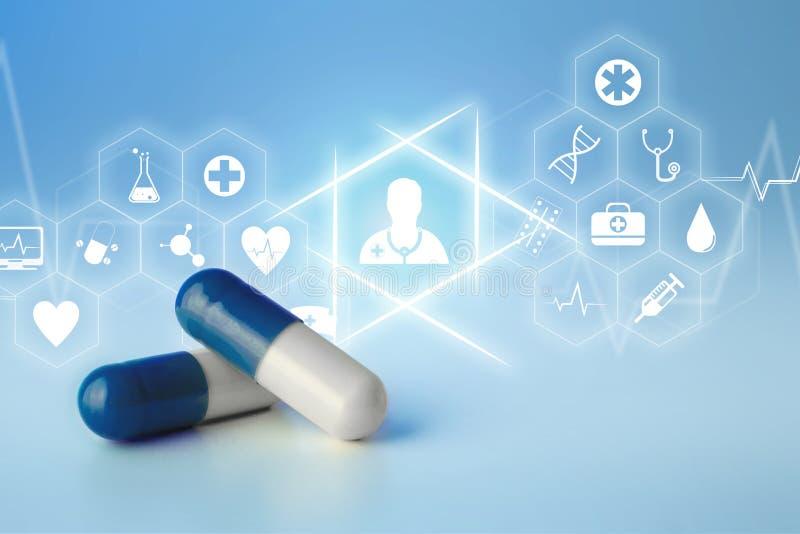 Medecine i ogólna opieki zdrowotnej ikona wystawiający na technologii m obraz royalty free