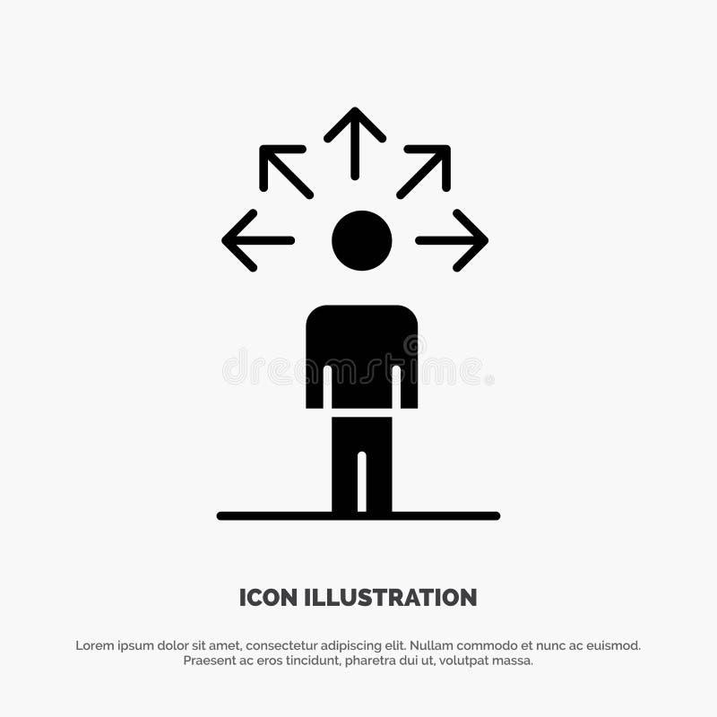 Mededeling, Capaciteiten, Verbinding, Menselijke stevige Glyph-Pictogramvector stock illustratie