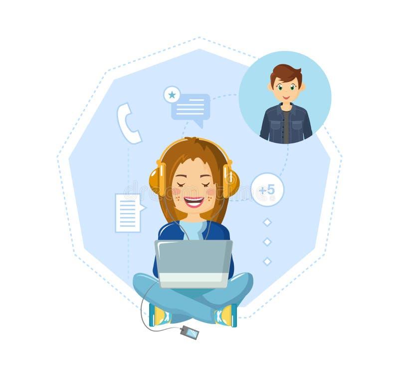Mededeling, dialogen in praatje, online correspondentie, sociale netwerken, informatie-uitwisseling stock illustratie