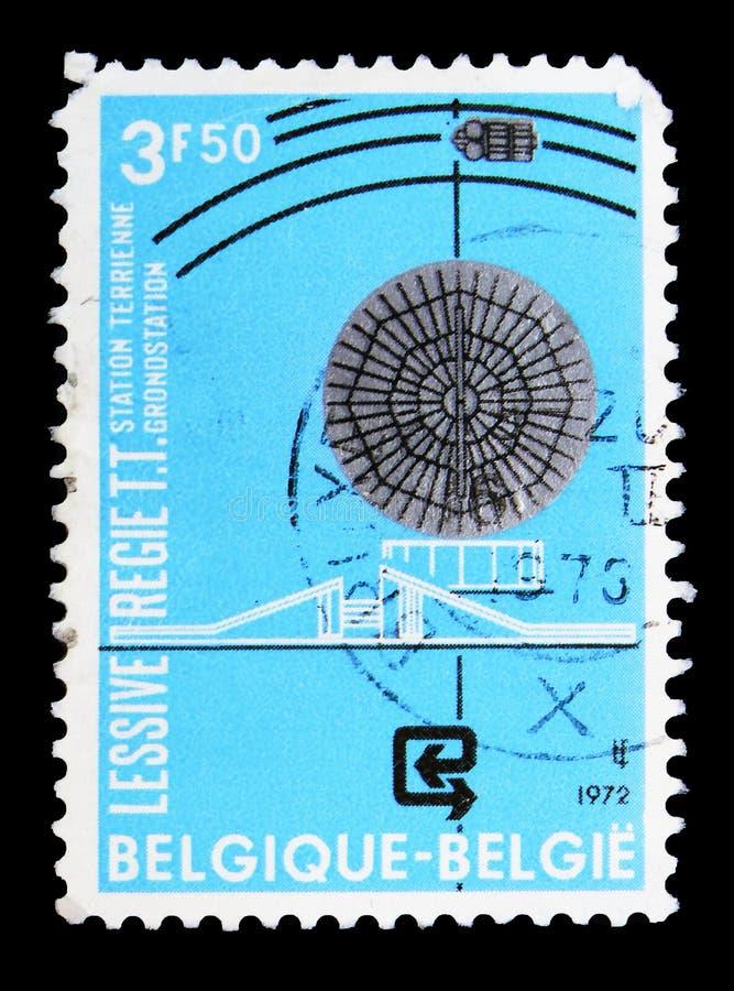 Mededeling door satellieten, circa 1972 stock foto's