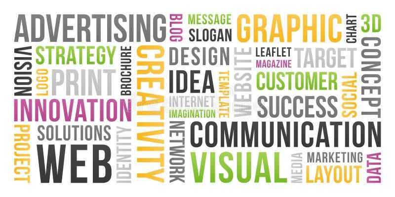 Mededeling en marketing - woordwolk royalty-vrije illustratie