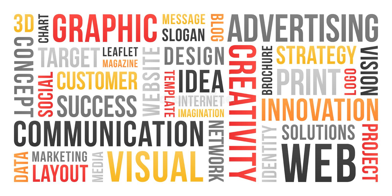Mededeling en marketing - woordwolk stock illustratie