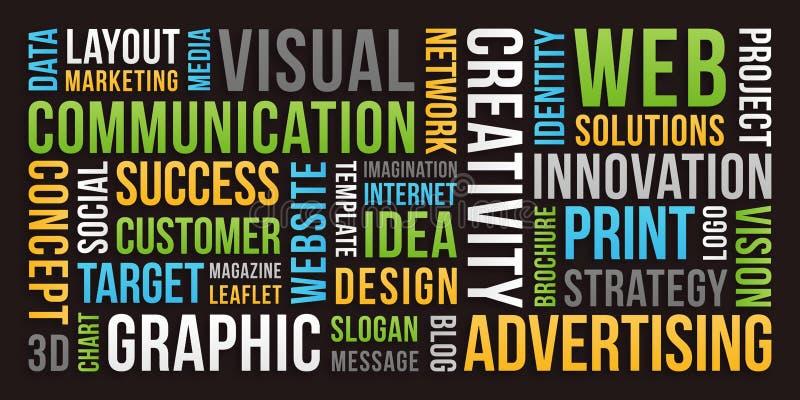 Mededeling en marketing - woordwolk stock afbeelding