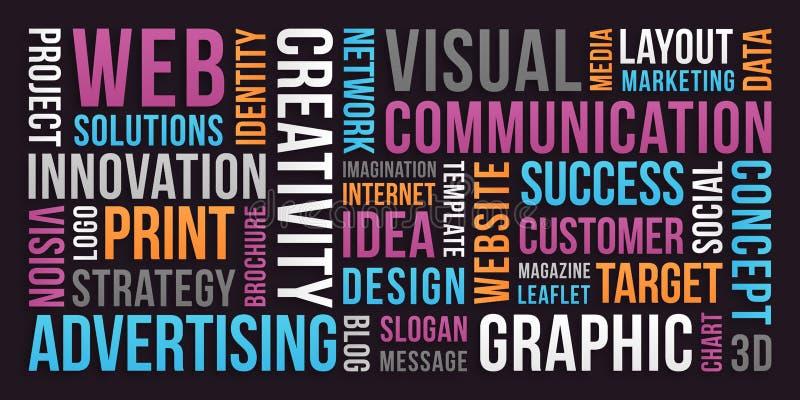 Mededeling en marketing - woordwolk stock foto's