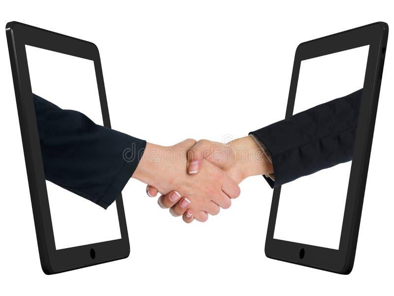 Mededeling - Handenschudden met de Computer van de Tablet royalty-vrije stock afbeeldingen