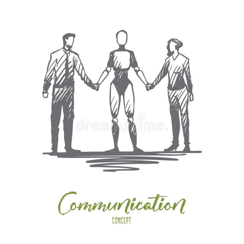 Mededeling, HCI, automatisering, zakenman, vennootschapconcept Hand getrokken geïsoleerde vector stock illustratie