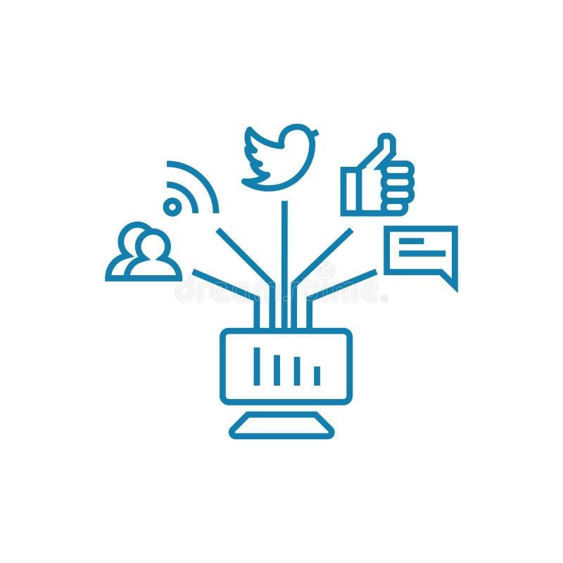 Mededeling in het sociale concept van het netwerken lineaire pictogram Mededeling in het sociale vectorteken van de netwerkenlijn stock illustratie