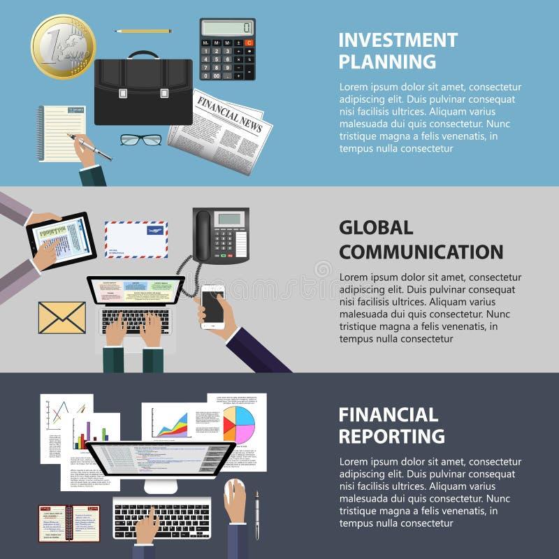 Mededeling, investering en het melden van concept stock illustratie