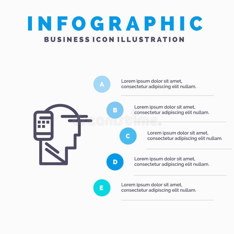 Mededeling, Menselijk, Mobiel, het pictogram van de Mobiliteitslijn aan infographicsachtergrond die van de 5 stappenpresentatie w royalty-vrije illustratie