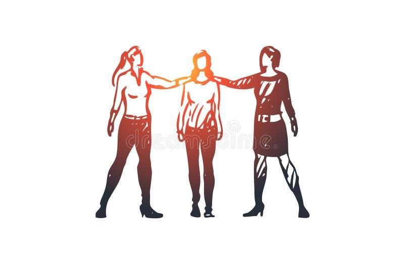 Mededeling, mensen, bespreking, bespreking, gespreksconcept Hand getrokken geïsoleerde vector royalty-vrije illustratie