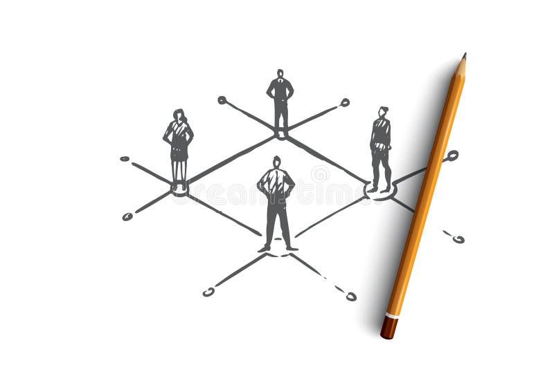 Mededeling, mensen, zaken, groep, besprekingsconcept Hand getrokken geïsoleerde vector vector illustratie