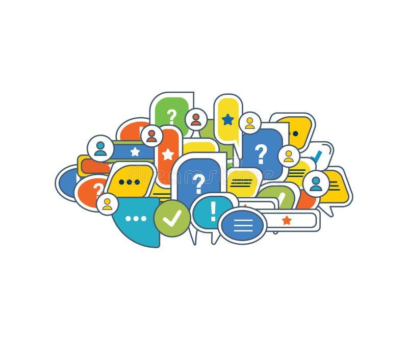 Mededeling, moderne informatietechnologie en middelen, overzichten, commentaren royalty-vrije illustratie