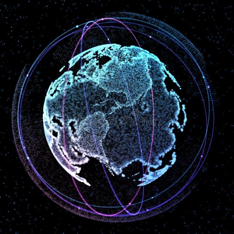Mededeling in ruimte satelitte Verbindingslijnen rond Aardebol 3D Illustratie vector illustratie