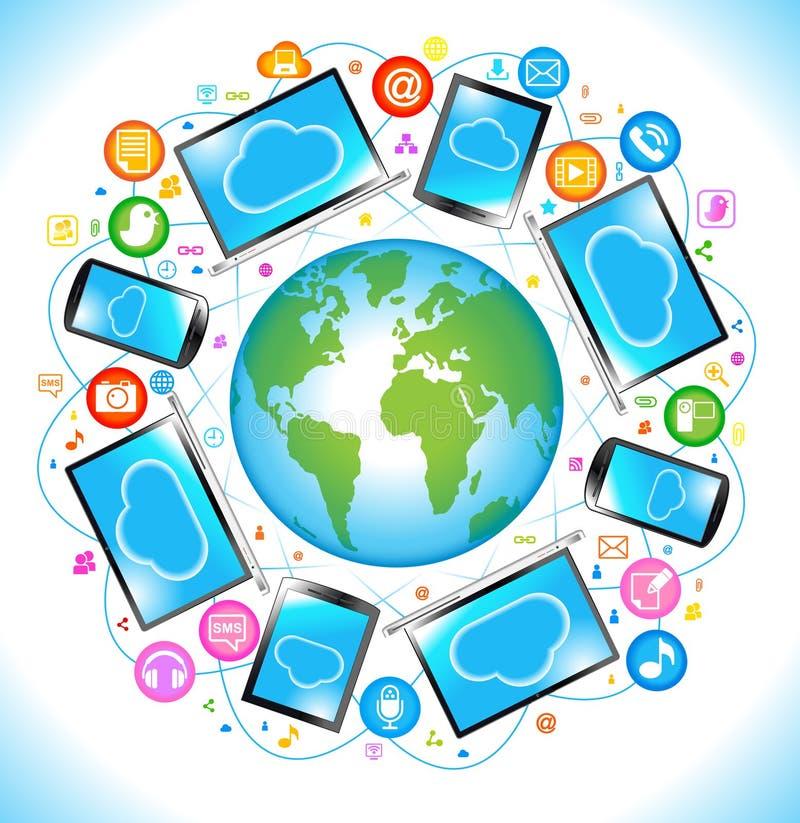 Mededeling van de Media van de elektronika de Sociale stock illustratie