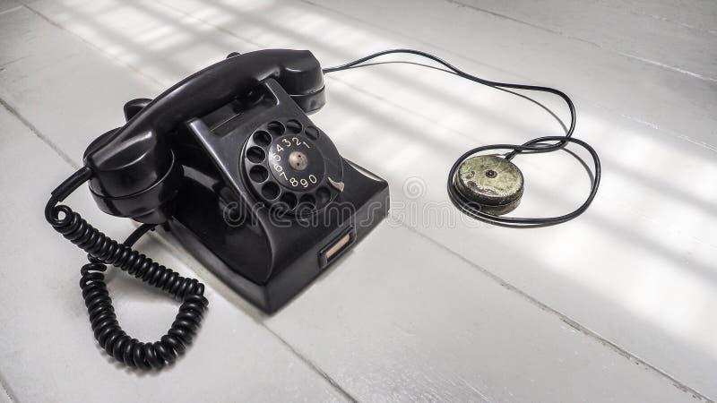Mededeling van het de wijzerplaatsysteem van de telefoontoestel de antieke zwarte kleur stock fotografie