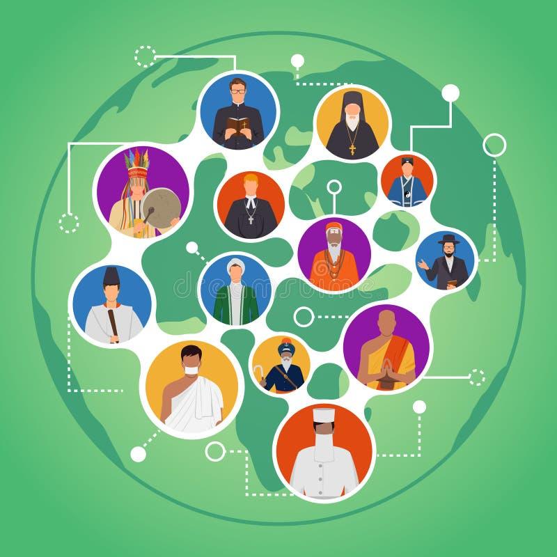 Mededeling van Mensen van Wereldgodsdiensten vector illustratie