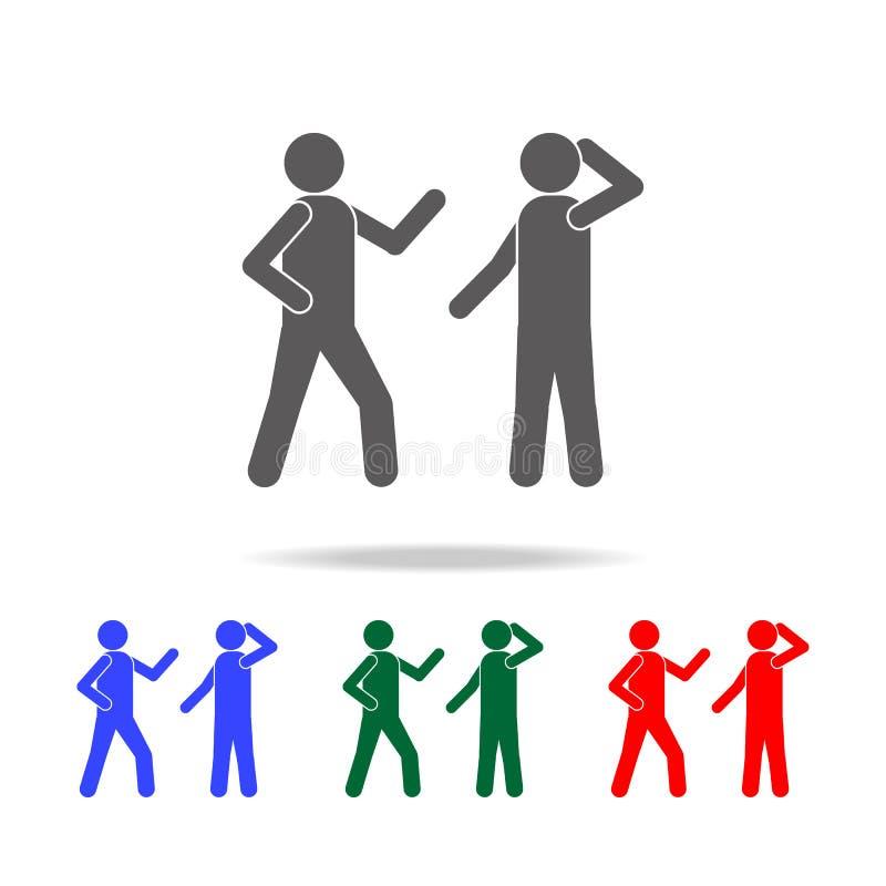 mededeling van mensenpictogram Elementen van gesprek in multi gekleurde pictogrammen Grafisch het ontwerppictogram van de premiek vector illustratie