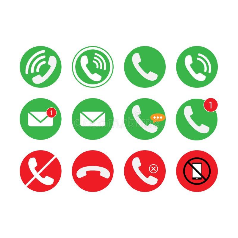 Mededeling van telefoon, vraag, e-mailpictogramreeks Vector illustratie stock illustratie