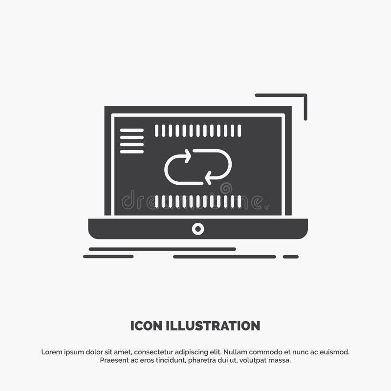 Mededeling, verbinding, verbinding, synchronisatie, synchronisatiepictogram glyph vector grijs symbool voor UI en UX, website of  royalty-vrije illustratie