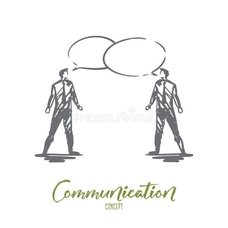 Mededeling, zaken, toespraak, praatje, gespreksconcept Hand getrokken geïsoleerde vector vector illustratie