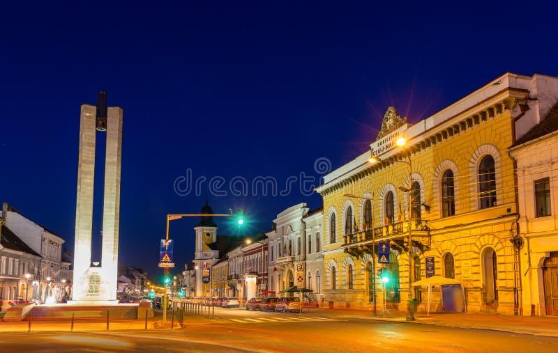 Mededelingsmonument in cluj-Napoca stock foto's