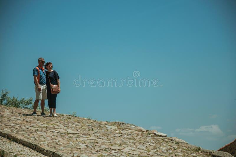 Medel?ldersa par som poserar till fotoet p? kullerstenbana arkivfoto