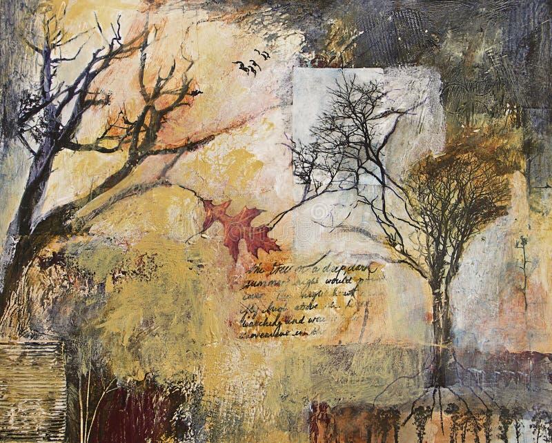 medel blandade målande treesvinter stock illustrationer