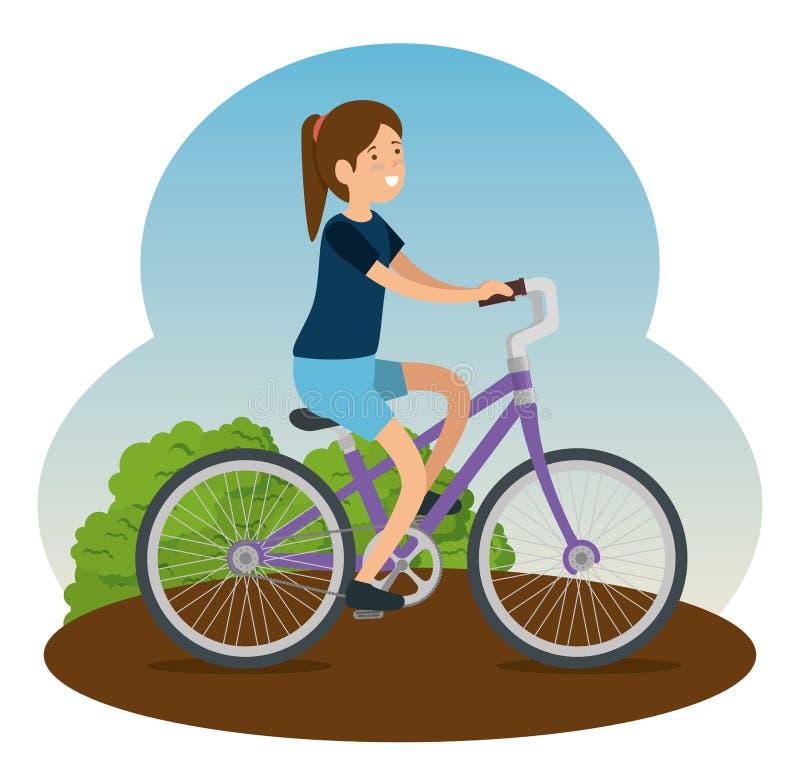 Medel för kvinnarittcykel som gör övning royaltyfri illustrationer