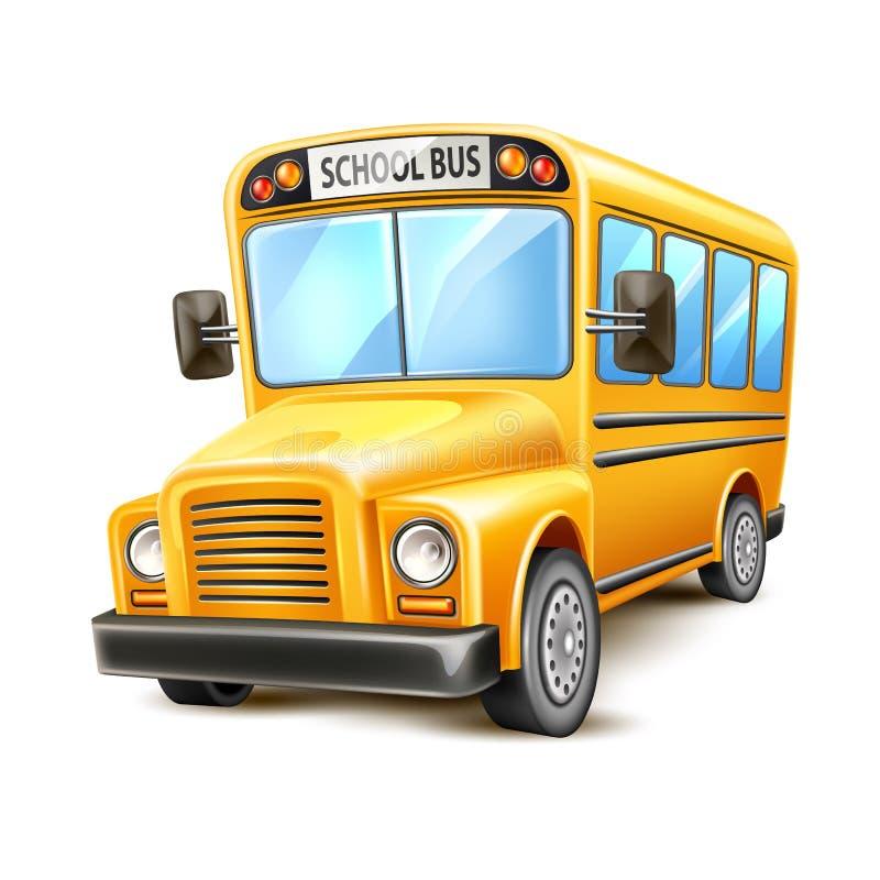 Medel för USA för realistisk skolbuss för vektor gult royaltyfri illustrationer