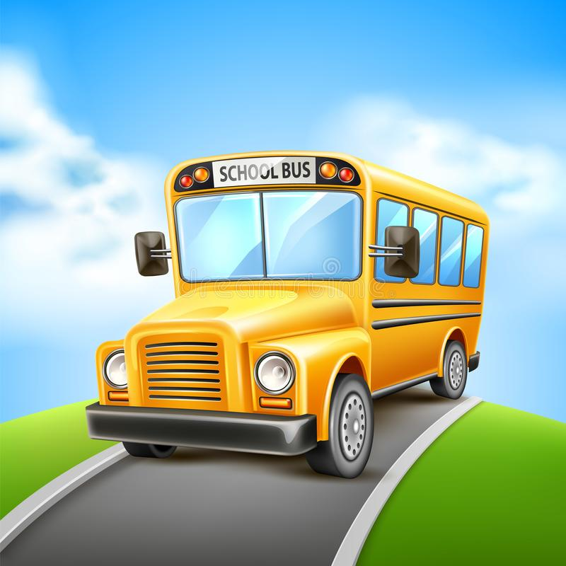 Medel för USA för realistisk skolbuss för vektor gult stock illustrationer