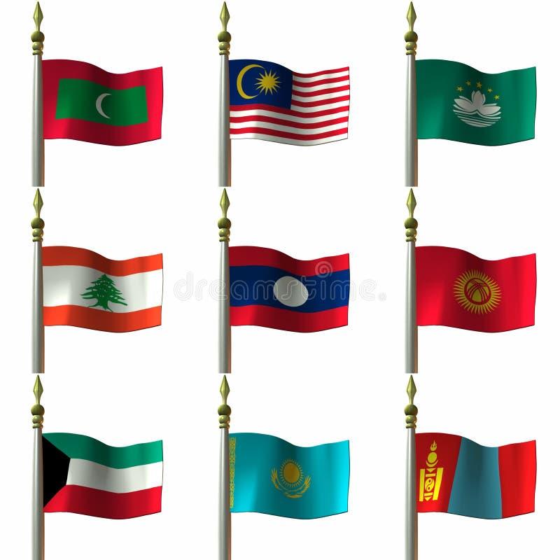 medelasiatiska östliga flaggor royaltyfri illustrationer