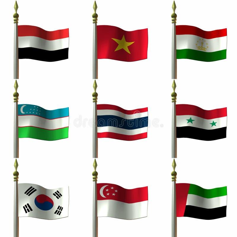 medelasiatiska östliga flaggor vektor illustrationer