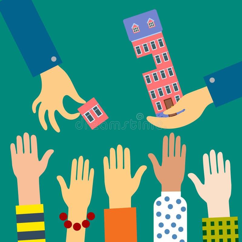 Medelförsäljningar eller hyr en lägenhet i envåning byggnad arkivbilder
