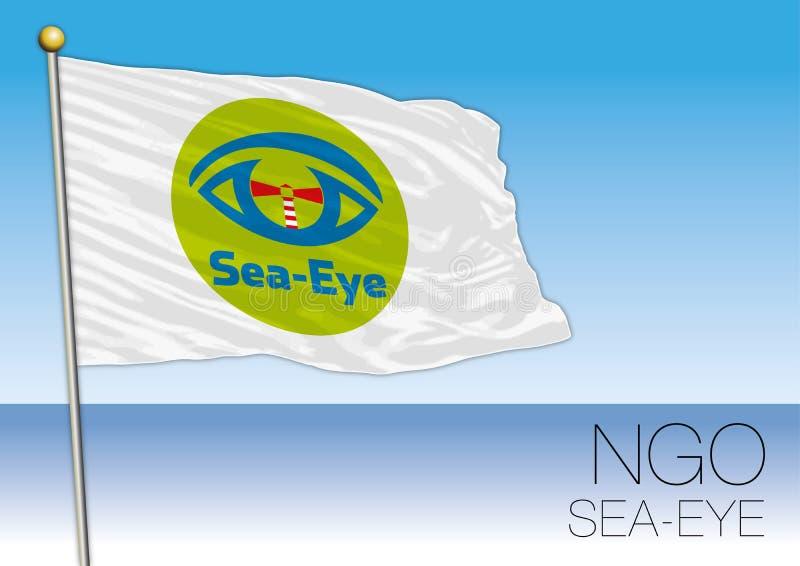 MEDELHAV EUROPA, ÅR 2017 - flagga av Hav-ögat, internationell Icke-stats- organisation stock illustrationer