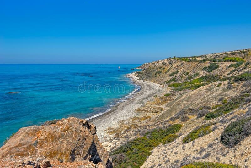Medelhavkust av Cypern fotografering för bildbyråer
