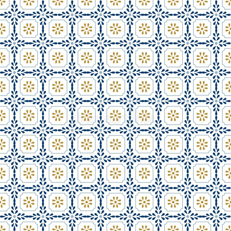 Medelhavs- dekormodell Lissabon tegelplattaprydnad, dekorativ mosaik för golvtegelplattor Blå och guld- sömlös modellvektor stock illustrationer
