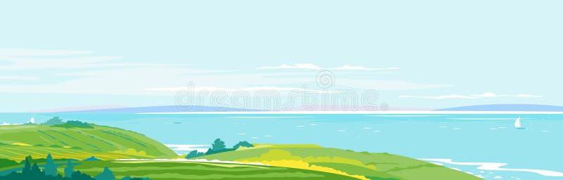 Medelhavs- kustlandskapbakgrund vektor illustrationer