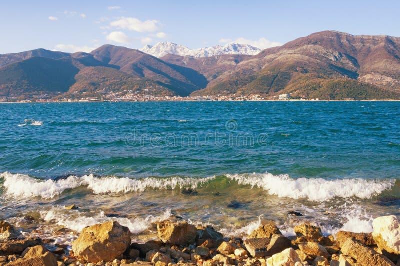 Medelhavs- landskap för härlig vinter: solig dag vågor på den steniga stranden, snö-korkade berg Montenegro fjärd av Kotor royaltyfri bild