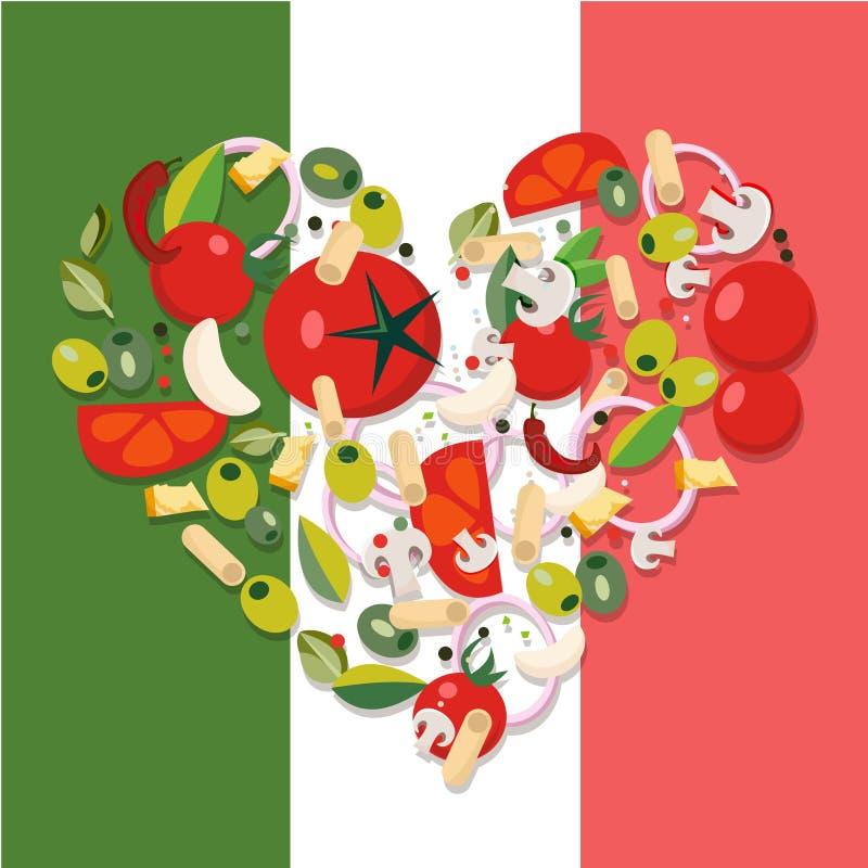 Medelhavs- livsmedelsprodukter f?r hj?rtaform Ingredienser - tomat, oliv, l?k, champinjon, pasta, ost, chili, vitl?k royaltyfri illustrationer