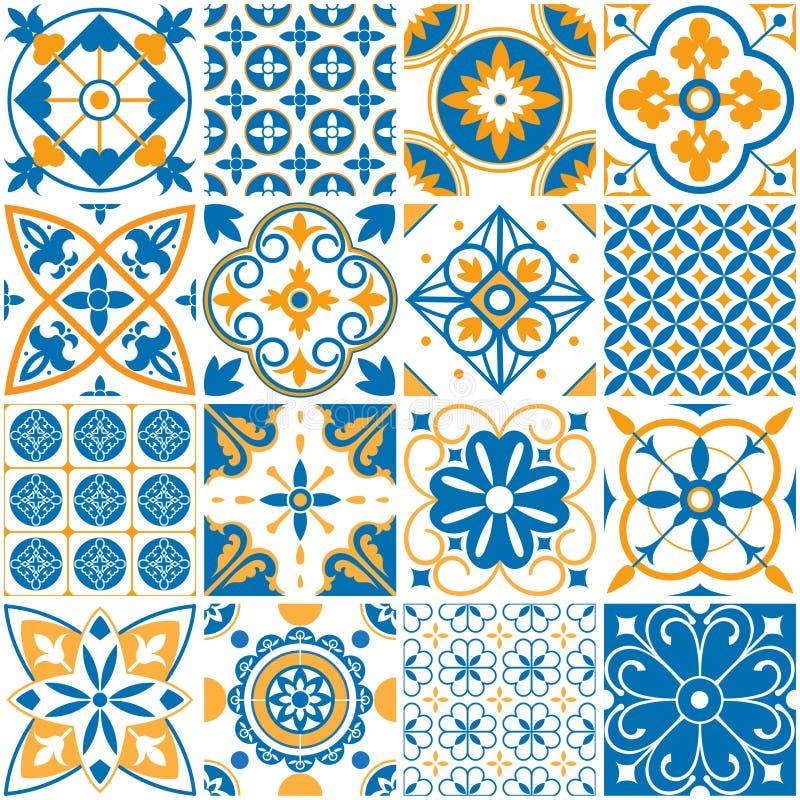 Medelhavs- modell Dekorativa Lissabon sömlösa modeller Dekorativa beståndsdelar för vektor för tegelplattor för Portugal dekormos royaltyfri illustrationer