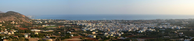 Medelhavs- panorama för Cretan royaltyfri bild