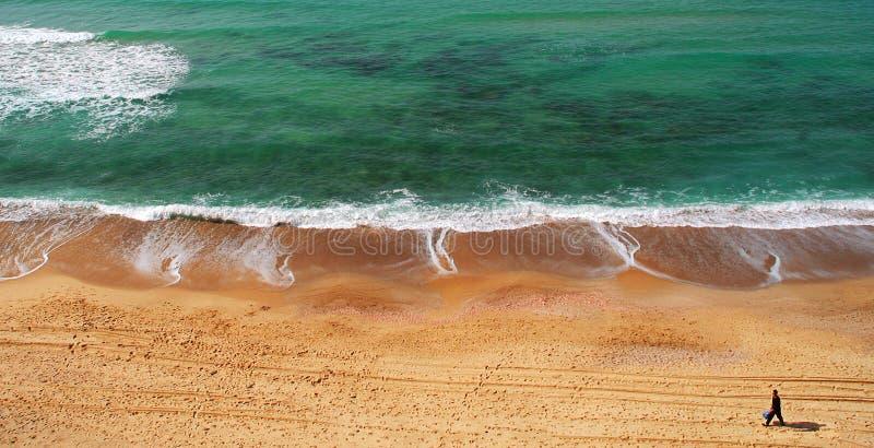 medelhavs- panorama- havssikt för strand arkivbild