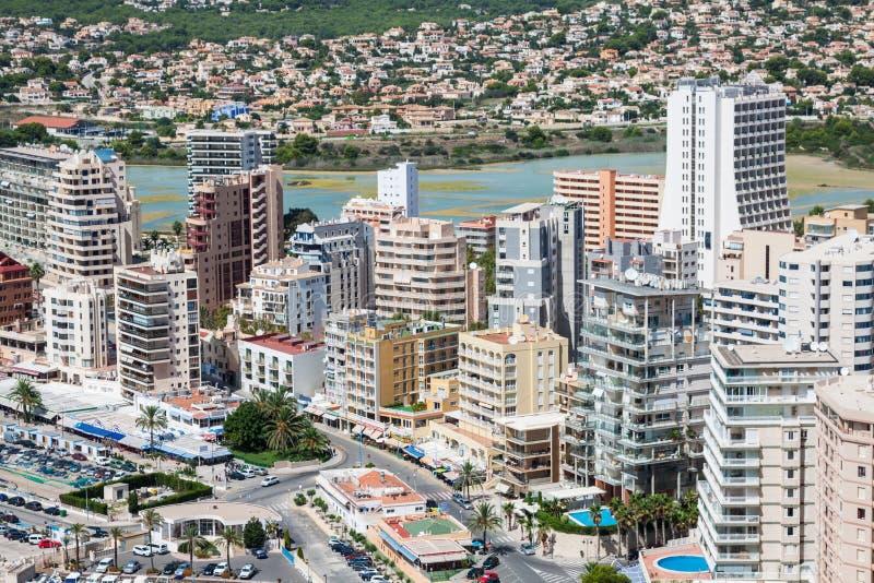 Download Medelhavs- Semesterort Calpe, Spanien Med LagunLas Salinas Och Hotellbyggnader Arkivfoto - Bild av lagun, medelhavs: 37349760